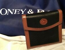 Vintage Dooney Bourke All Weather Leather Bifold Wallet Black Kiss Lock Pocket