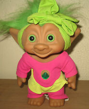 "Ace Novelty LARGE 8"" Gymnast Treasure Troll Doll W/ Green Hair and Green Gem"