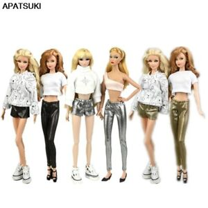 """Elastic Leather Trousers Bottoms For 11.5"""" 1/6 Doll Clothes Pants Shorts Outfits"""
