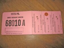 Pennsylvania Adult Resident Hunting License - 1975 Complete, Voided