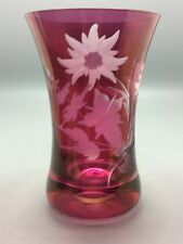 Vintage Hour Glass Shape Floral Etched Fine Cut Cranberry Glass Bud Vase
