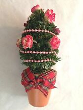 """Green 7.5"""" Evergreen Tree with Pink Flowers In Teracotta Pot Figurine"""