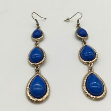 Blue Stone Dangle Style Hook Earrings Fashion Jewelry Vintage Mid Century Modern