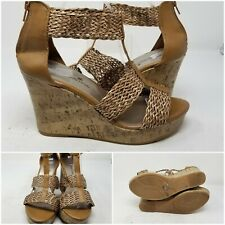 Montego Bay Club Cork Wedge Heel Woven Ankle Straps Peep Toe Womens Size 10