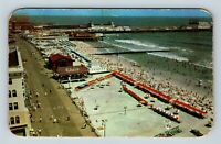 Atlantic City NJ, Boardwalk, Beach, Aerial View, Chrome, New Jersey Postcard