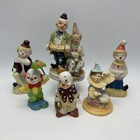 Lot of 6 Cute Vintage Clown Porcelain Figurines Similar Style Adorable