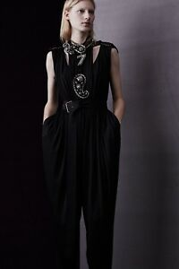 $3380 LANVIN Black Chain Draped Stretch Silky Satin Gathered Party Jumpsuit US 6
