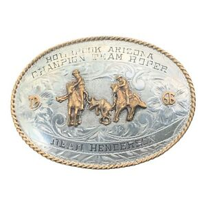 Solid Sterling Silver Front 1966 Holbrook Arizona Rodeo Roping Champ Belt Buckle