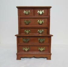 """Vtg. Jewelry Chest Music Box w Drawers & Brass Handles """"Tales from Vienna Woods"""""""