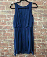 Anthropologie The Letter sz XS Silk Dress Navy Blue Blouson Sleeveless Flowy
