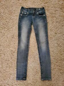 Miss Me Light Wash Jewelled Bling Flap Pocket Skinny Stretch Jeans Size 24x29
