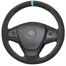 Hand-stitched Black Suede Blue Marker Car Steering Wheel Cover for BMW X3