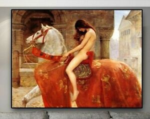 Lady Godvia Nude Women Painting By John Collier Printed On Canvas 20x30cm