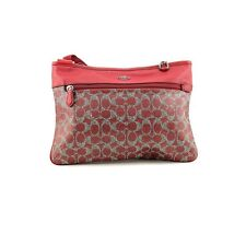 Coach New Red Coated Canvas Signature Zip Top Spencer Crossbody Bag Purse