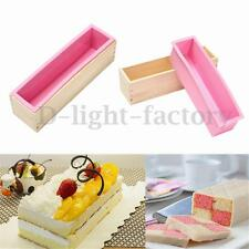 Toast Loaf Bread Soap Cake Silicone Mold Rectangle Mould & Wood Box Baking Tool