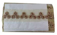 9 mtr lace saree border craft trim cream net Gold Maroon Embroidered, Stone