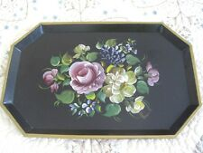 French Country Farmhouse Chic Garden Pink Yellow Roses Signed Dresser Tole Tray
