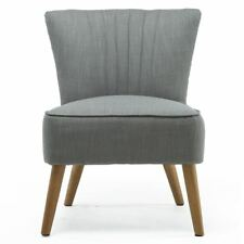 Ayla Linen Retro Occasional Accent Bedroom Living Room Chair Grey Fabric Tub