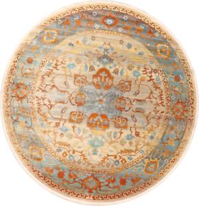 Vintage Style Turkish Distressed Heat-Set Area Rug Geometric Oriental Carpet