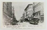 Postcard Real Photo Lawrence Street 1900's Littleton Colorado Trolly Horse Wagon
