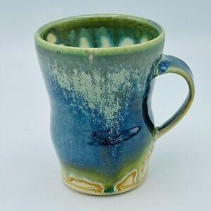 Turtle Farm Studio Art Pottery Mug Blue Green Drip Glaze Wheel Thrown Handmade
