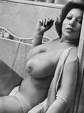 60s Nude brunette pinup wrought iron chair monstrous Breasts 8 x 10 Photograph