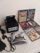 NINTENDO GAMECUBE Black Gaming System w/ 6 Games + Controller WORKING BUNDLE