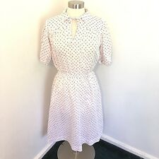 Vintage Handmade Dress House Tea White Red Floral 50's 60's Pull On Thin