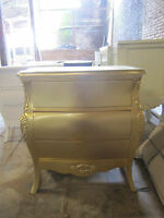 GOLD 4 drawers  Handmade Mahogany bedside table / nightstand ( 1 secret drawer )