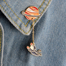 Cute Planet Astronaut Pin ~ Space Themed Badge Backpack  Brooch Lapel Pin