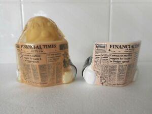 2 X RETRO CERAMIC EGG CUPS.  BUSINESSMAN READING FINANCIAL TIMES. 1 in orig pck