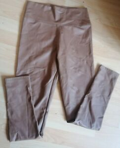 Ladies Tan Faux Leather Pleather Leggings Size S/M