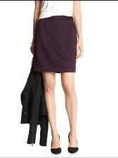 Banana Republic Women's Sz 14 Pencil Skirt Laser Cut Purple Plum Lining Back Zip