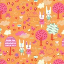 Moda Tela primavera Bunny diversión la gran caza Albaricoque por 1/4 Metro