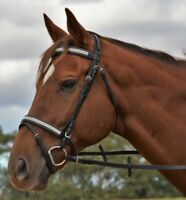 RUMANI ELEGANT Leather Horse BRIDLE & REINS Diamante Browband & Noseband - Black
