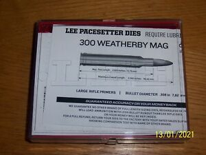 300 Weatherby Magnum,  3 Piece Reloading Die Set, Lee Pacesetter, Shell Holder
