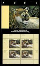 Alberta #3 1998 Cougar Conservation Stamp Mini Sheet Of 4 In Folder Nh