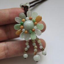 Genuine Natural Jadeite Jade Beautiful Handmade Flower Pendant Necklace