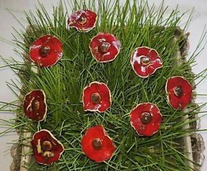 Keramik Blumen,10 Stück, Blüten Stecker, Muttertag Geschenk , Handgemacht