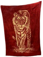 RARE San Marcos Large 76 x 56 Tiger Blanket Gold Red Reversible With Tag