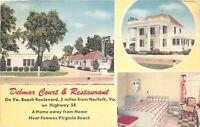 Norfolk Virginia 1950s Postcard Delmar Court Motel & Restaurant