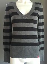 Stylish EDC by ESPRIT Grey Stretch Stripe Long Sleeve Jumper Size S/8