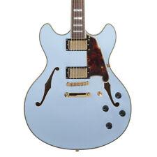 D'Angelico Guitars DADDCMPBGSCB Deluxe DC Semi-Hollow Guitar, Matte Powder Blue