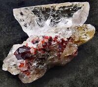 Natural Hessonite Garnet combine with Quartz crystal specimen from Skardu 65g