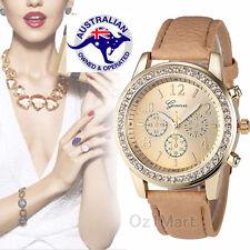 NEW Women Luxury Gold Crystal Beige Leather Strap Quartz Watch Wristwatch