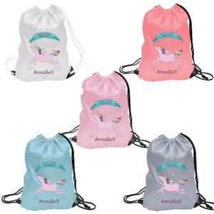 Personalised Name Drawstring Bag, PE Kit School Sport Gym Kids Backpack Any Name