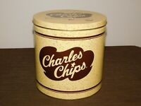 """KITCHEN FOOD 8 1/4"""" HIGH CHARLES CHIPS  TIN CAN  *EMPTY*"""