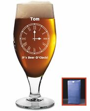 Personalised Engraved Pint Stemmed Beer Glass 'It's Beer O'Clock', Gift Boxed