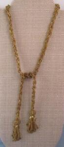 Vintage Gold Glass Seed Bead Necklace Lariat Tassel Flapper Beautiful Quality