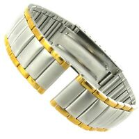 18mm Speidel Two Tone Stainless Steel Deployment Buckle Watch Band Mens